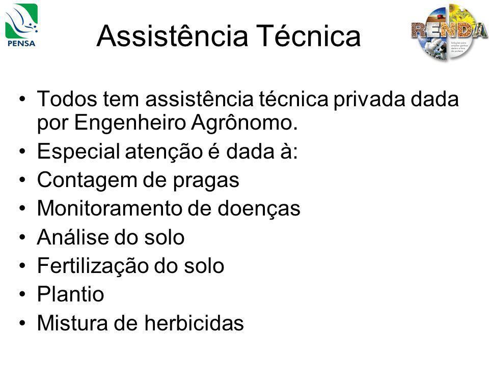Assistência Técnica Todos tem assistência técnica privada dada por Engenheiro Agrônomo. Especial atenção é dada à: Contagem de pragas Monitoramento de