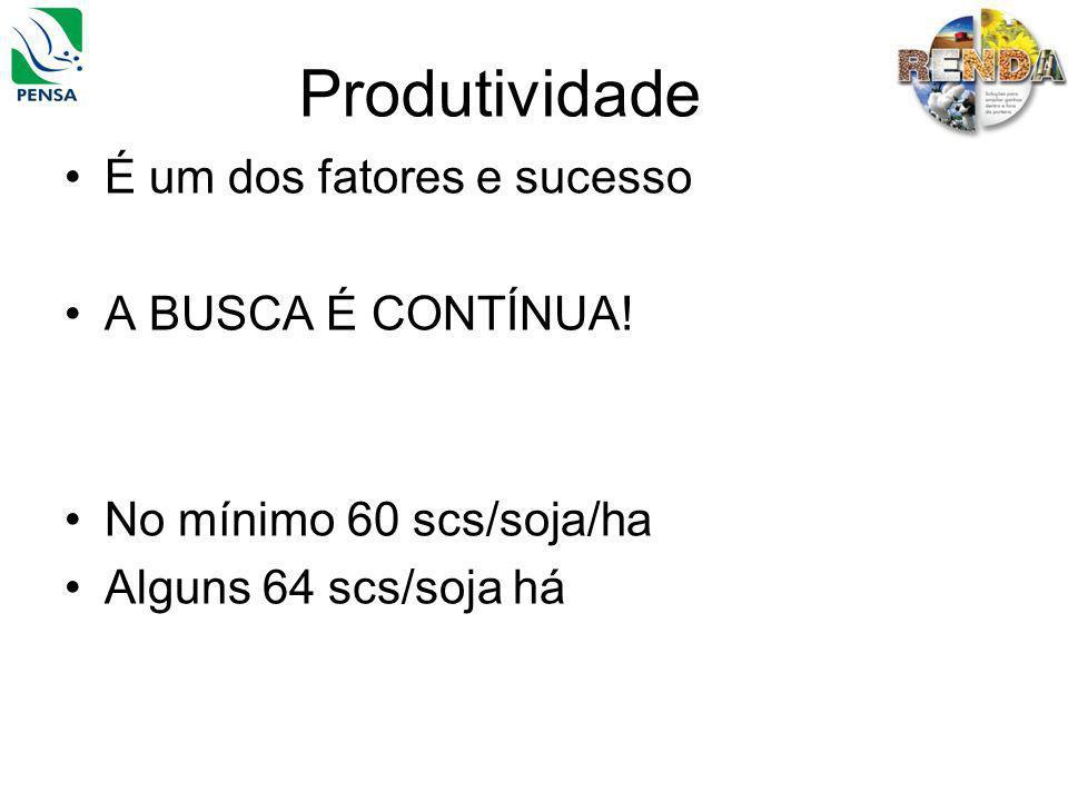 Produtividade É um dos fatores e sucesso A BUSCA É CONTÍNUA! No mínimo 60 scs/soja/ha Alguns 64 scs/soja há