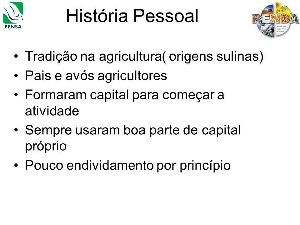 História Pessoal Tradição na agricultura( origens sulinas) Pais e avós agricultores Formaram capital para começar a atividade Sempre usaram boa parte