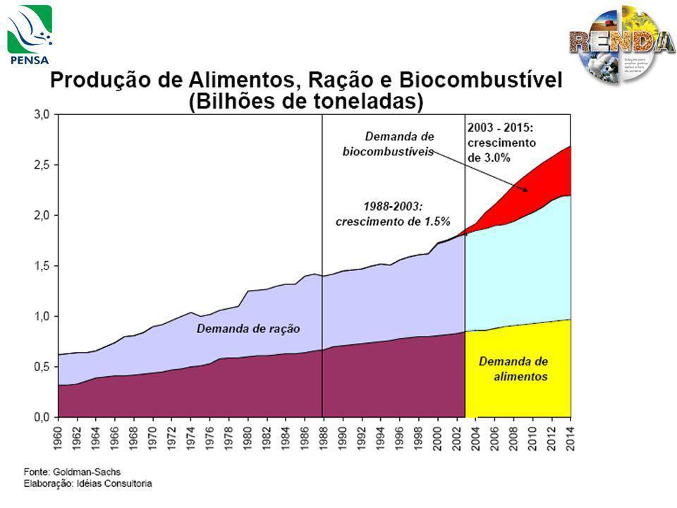 Cenários para a safra 2009/2010 Mercado Interno Desaceleração econômica Tendência de redução da SELIC Aumento dos depósitos à vista e das exigibilidades Aumento da poupança rural Restrições creditícias(endividamento e tradings) Infra-estrutura e logística engargalada Dólar ao fim de 2009 R$1,8 Dólar ao fim de 2010 R$1,7 Fonte: BM&F, Itaú BBA,Bradesco.