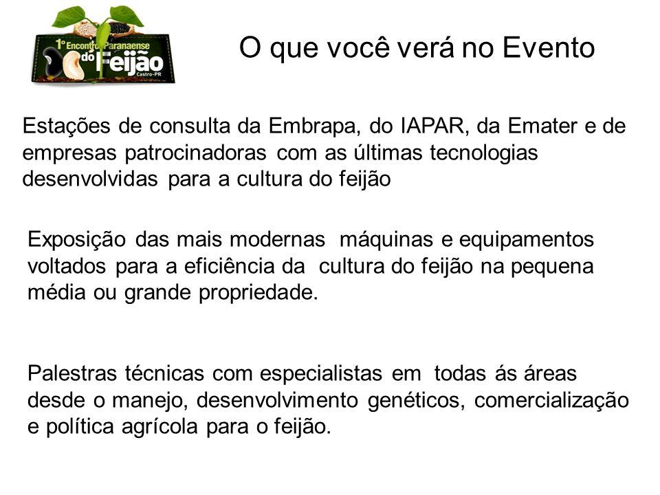 Estações de consulta da Embrapa, do IAPAR, da Emater e de empresas patrocinadoras com as últimas tecnologias desenvolvidas para a cultura do feijão O