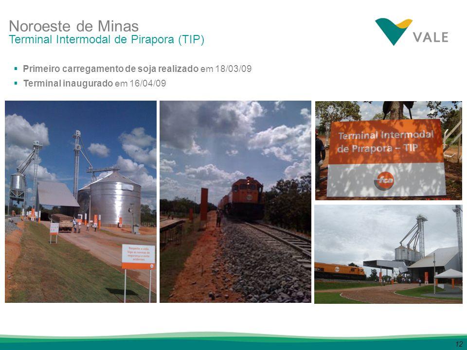 12 Noroeste de Minas Primeiro carregamento de soja realizado em 18/03/09 Terminal inaugurado em 16/04/09 Terminal Intermodal de Pirapora (TIP)