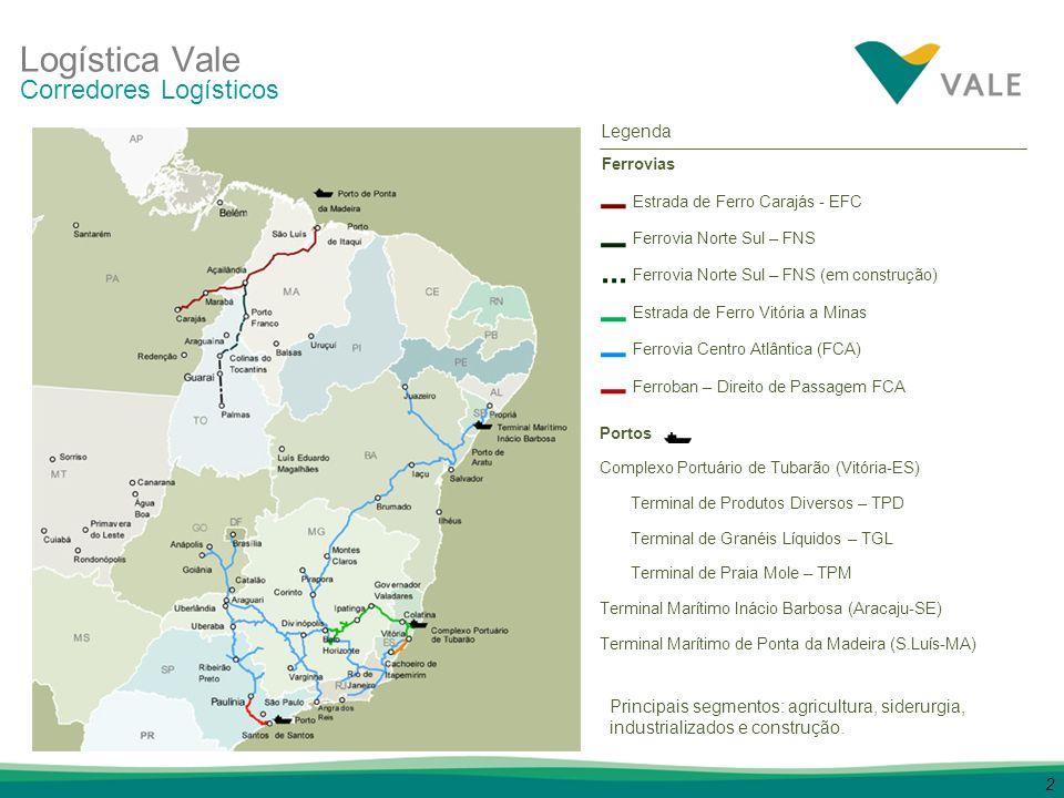 2 Ferrovias Estrada de Ferro Carajás - EFC Ferrovia Norte Sul – FNS Ferrovia Norte Sul – FNS (em construção) Estrada de Ferro Vitória a Minas Ferrovia
