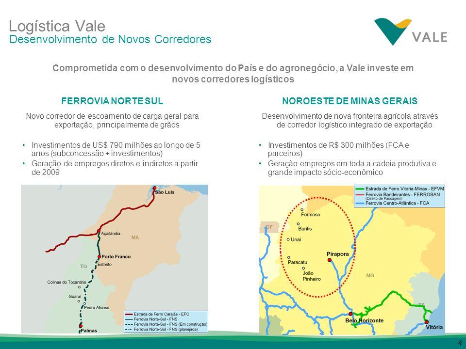 4 FERROVIA NORTE SUL Novo corredor de escoamento de carga geral para exportação, principalmente de grãos Investimentos de US$ 790 milhões ao longo de