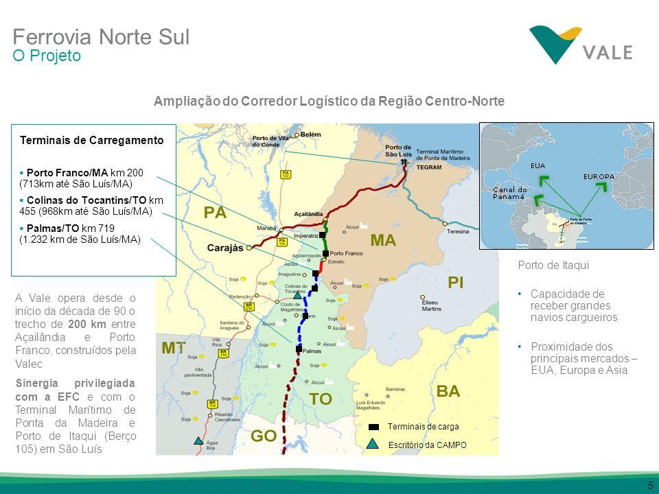 6 225 km, construídos pela Valec, sendo 200 km operados pela Vale entre Açailândia e Porto Franco; 134 km de Estreito e Araguaína, construídos pela Valec (*); 361 km a serem construídos pela Valec (*), incluindo: 213 km de Araguaína a Guaraí, a serem construídos pela Valec, com recursos da sub-concessão – Abr/2009 148 km de Guaraí até Palmas, a serem construídos pela Valec, com recursos da sub-concessão – Dez/2009 (*) A conclusão da instalação do trecho da FNS até o município de Palmas é responsabilidade da Valec Com a aquisição pela Vale da sub-concessão da Ferrovia Norte Sul, a linha ferroviária operada se estenderá até Palmas, capital do estado do Tocantins, totalizando 720 km Ferrovia Norte Sul Infraestrutura Ferroviária