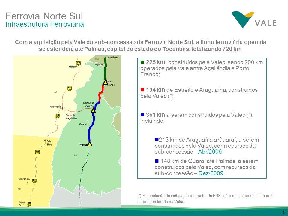 6 225 km, construídos pela Valec, sendo 200 km operados pela Vale entre Açailândia e Porto Franco; 134 km de Estreito e Araguaína, construídos pela Va