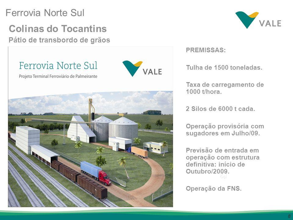 8 PREMISSAS: Tulha de 1500 toneladas. Taxa de carregamento de 1000 t/hora. 2 Silos de 6000 t cada. Operação provisória com sugadores em Julho/09. Prev