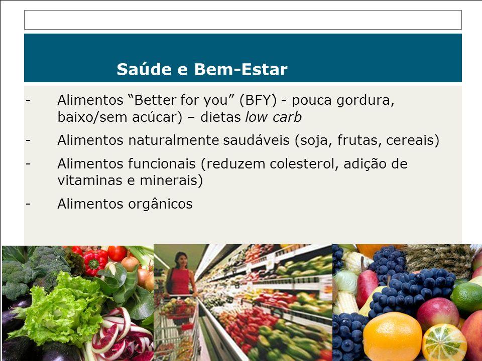 -Alimentos Better for you (BFY) - pouca gordura, baixo/sem acúcar) – dietas low carb -Alimentos naturalmente saudáveis (soja, frutas, cereais) -Alimen