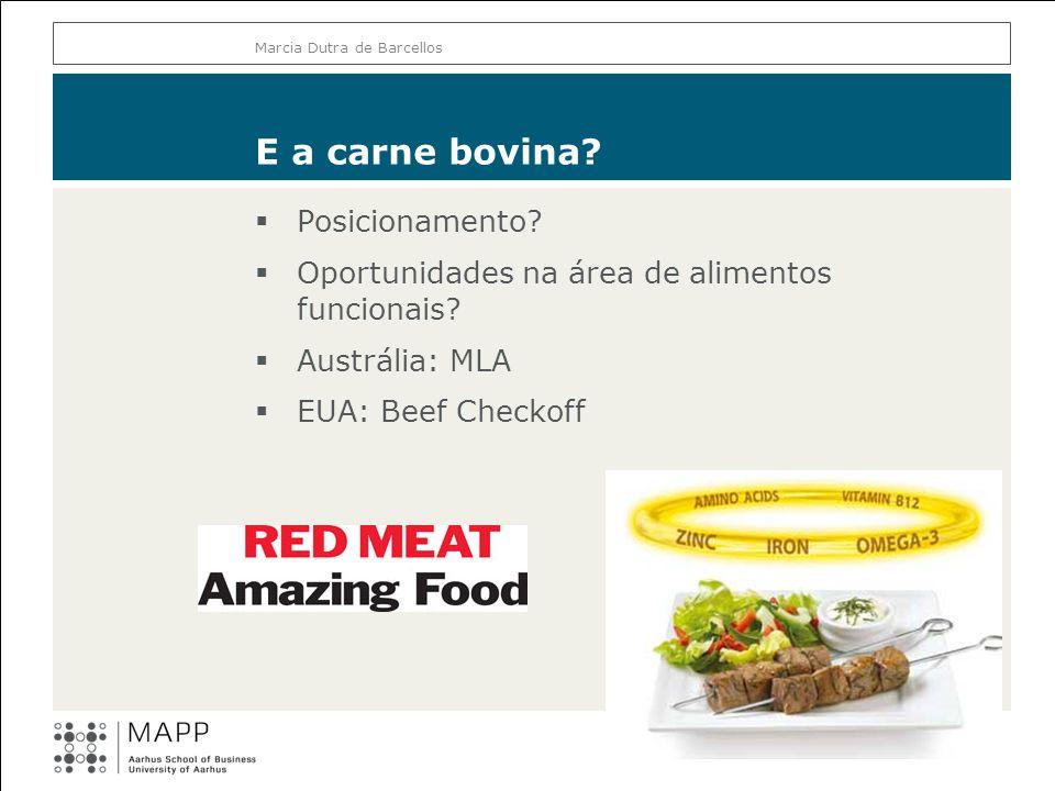 E a carne bovina? Posicionamento? Oportunidades na área de alimentos funcionais? Austrália: MLA EUA: Beef Checkoff Marcia Dutra de Barcellos