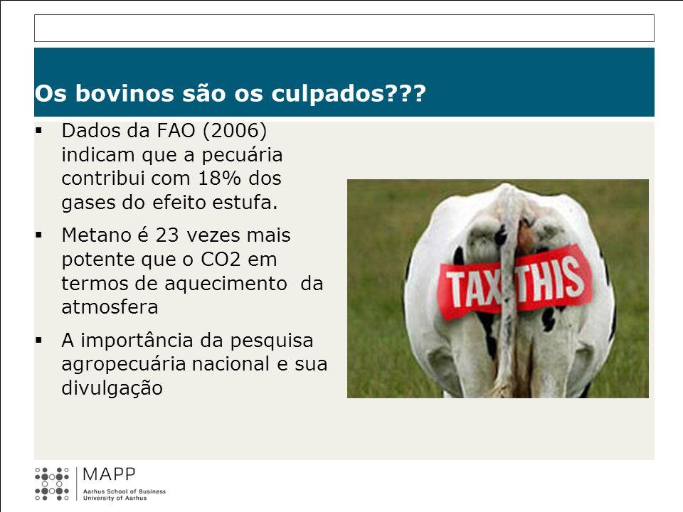 Os bovinos são os culpados??? Dados da FAO (2006) indicam que a pecuária contribui com 18% dos gases do efeito estufa. Metano é 23 vezes mais potente