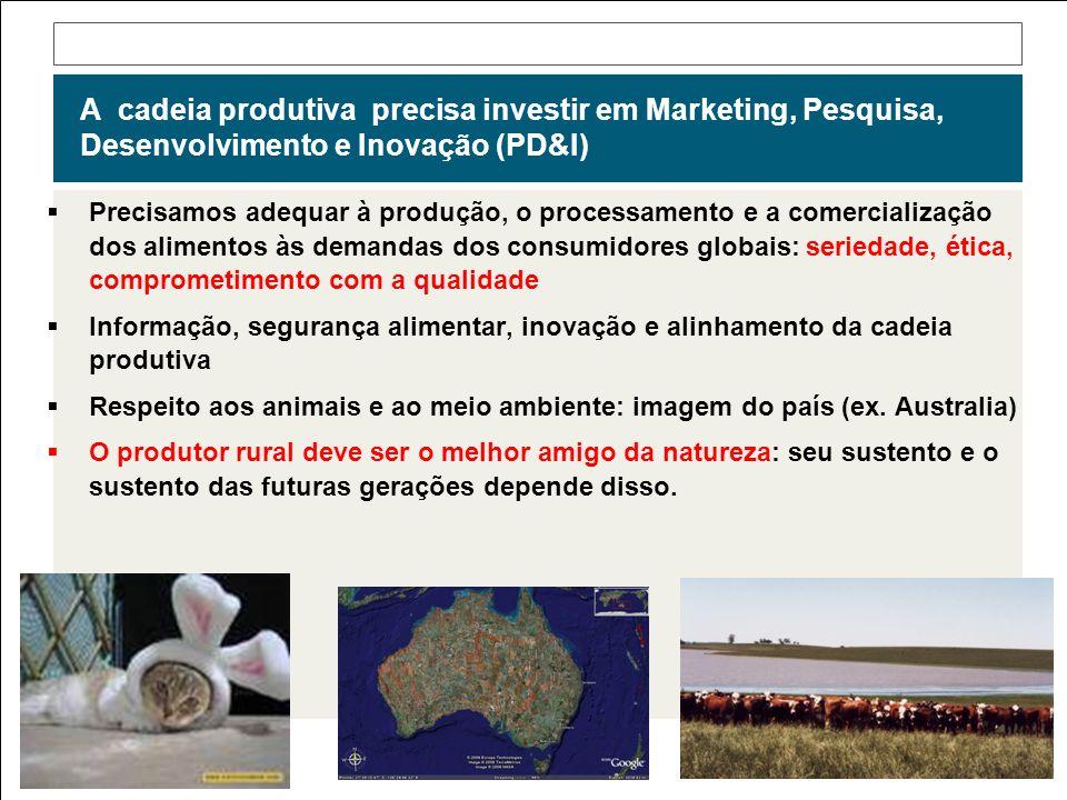 A cadeia produtiva precisa investir em Marketing, Pesquisa, Desenvolvimento e Inovação (PD&I) Precisamos adequar à produção, o processamento e a comer