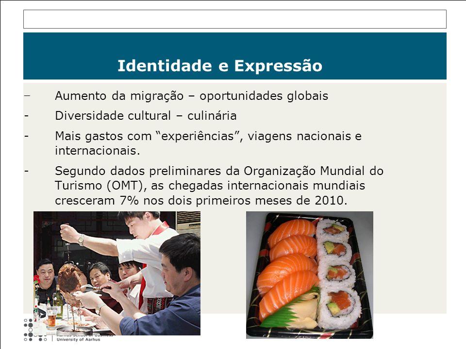 Aumento da migração – oportunidades globais -Diversidade cultural – culinária -Mais gastos com experiências, viagens nacionais e internacionais. -Segu