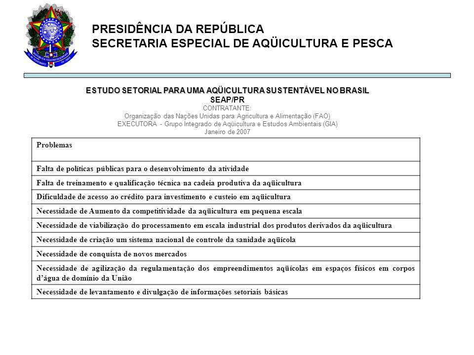PRESIDÊNCIA DA REPÚBLICA SECRETARIA ESPECIAL DE AQÜICULTURA E PESCA ESTUDO SETORIAL PARA UMA AQÜICULTURA SUSTENTÁVEL NO BRASIL SEAP/PR CONTRATANTE: Or