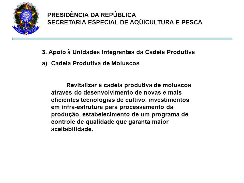 PRESIDÊNCIA DA REPÚBLICA SECRETARIA ESPECIAL DE AQÜICULTURA E PESCA 3. Apoio à Unidades Integrantes da Cadeia Produtiva a)Cadeia Produtiva de Moluscos