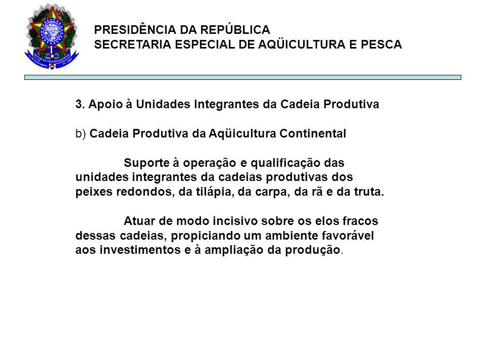PRESIDÊNCIA DA REPÚBLICA SECRETARIA ESPECIAL DE AQÜICULTURA E PESCA 3. Apoio à Unidades Integrantes da Cadeia Produtiva b) Cadeia Produtiva da Aqüicul