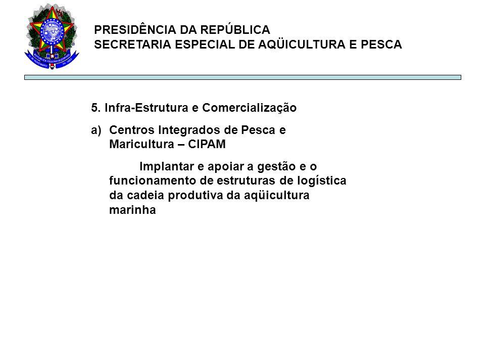 PRESIDÊNCIA DA REPÚBLICA SECRETARIA ESPECIAL DE AQÜICULTURA E PESCA 5. Infra-Estrutura e Comercialização a)Centros Integrados de Pesca e Maricultura –