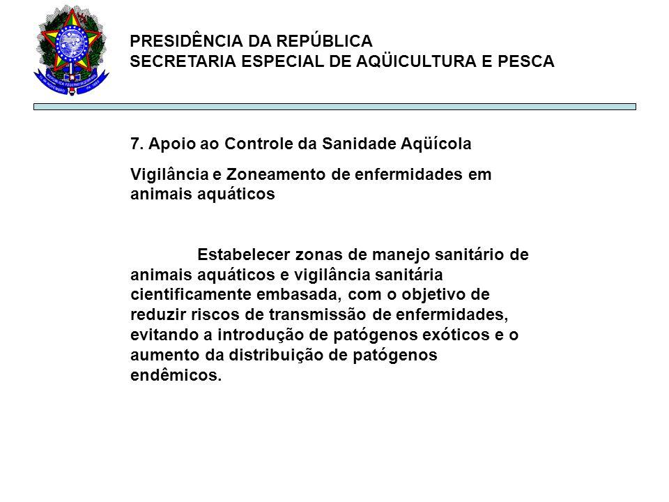 PRESIDÊNCIA DA REPÚBLICA SECRETARIA ESPECIAL DE AQÜICULTURA E PESCA 7. Apoio ao Controle da Sanidade Aqüícola Vigilância e Zoneamento de enfermidades