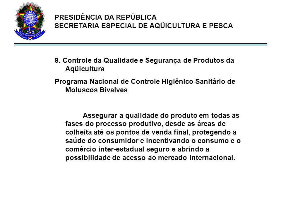 PRESIDÊNCIA DA REPÚBLICA SECRETARIA ESPECIAL DE AQÜICULTURA E PESCA 8. Controle da Qualidade e Segurança de Produtos da Aqüicultura Programa Nacional