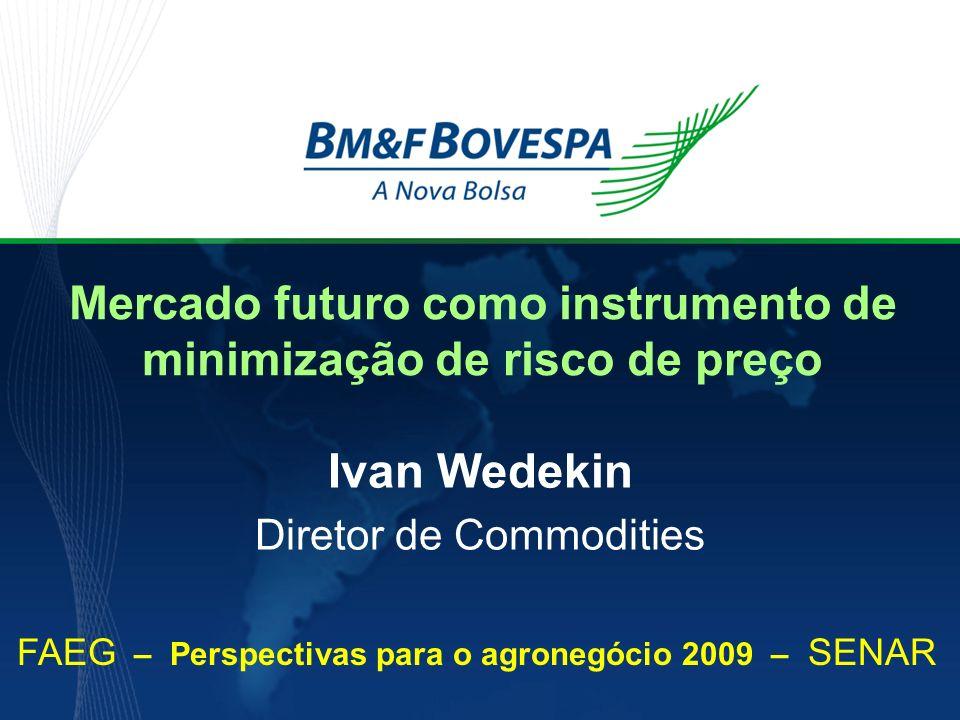 Mercado futuro como instrumento de minimização de risco de preço Ivan Wedekin Diretor de Commodities FAEG – Perspectivas para o agronegócio 2009 – SEN