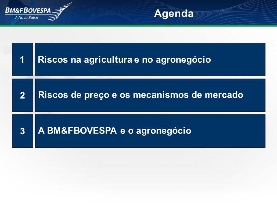 Riscos na agricultura e no agronegócio1 Riscos de preço e os mecanismos de mercado 2 A BM&FBOVESPA e o agronegócio 3 Agenda