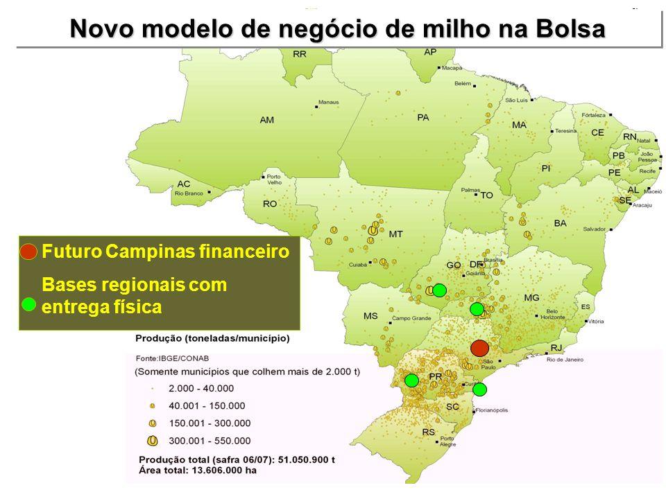 Novo modelo de negócio de milho na Bolsa Futuro Campinas financeiro Bases regionais com entrega física