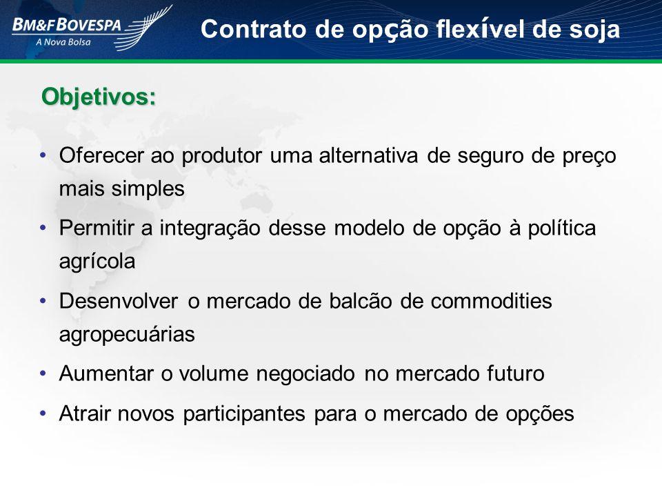 Objetivos: Objetivos: Oferecer ao produtor uma alternativa de seguro de preço mais simples Permitir a integração desse modelo de opção à política agrí