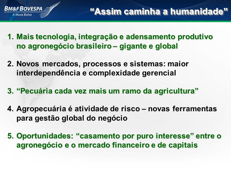 1.Mais tecnologia, integração e adensamento produtivo no agronegócio brasileiro – gigante e global 2.Novos mercados, processos e sistemas: maior inter