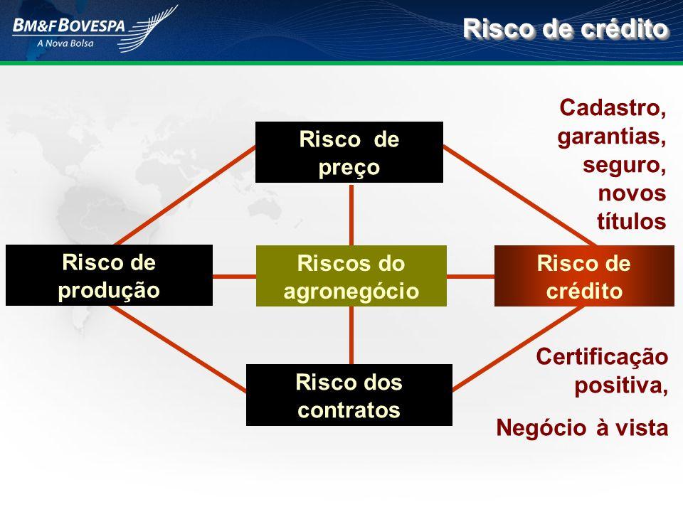 Risco de crédito Riscos do agronegócio Risco de crédito Risco dos contratos Risco de preço Risco de produção Cadastro, garantias, seguro, novos título