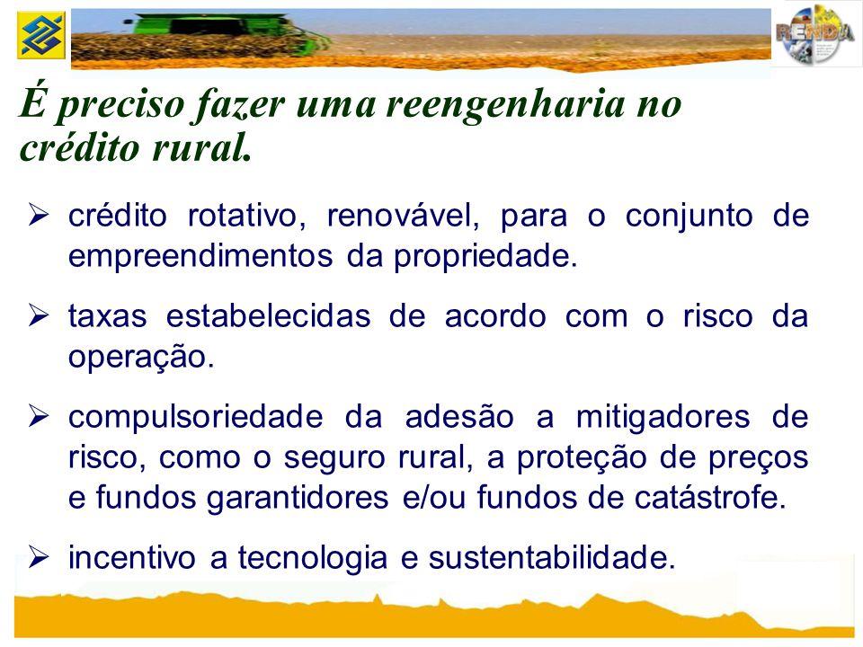 É preciso fazer uma reengenharia no crédito rural. crédito rotativo, renovável, para o conjunto de empreendimentos da propriedade. taxas estabelecidas