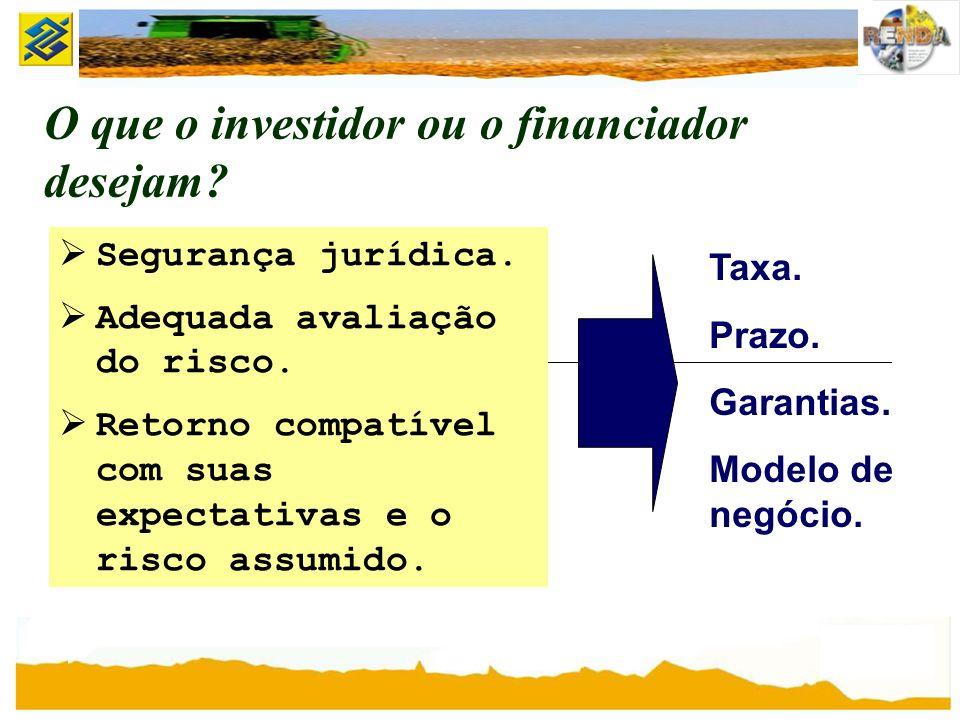 O que o investidor ou o financiador desejam? Segurança jurídica. Adequada avaliação do risco. Retorno compatível com suas expectativas e o risco assum