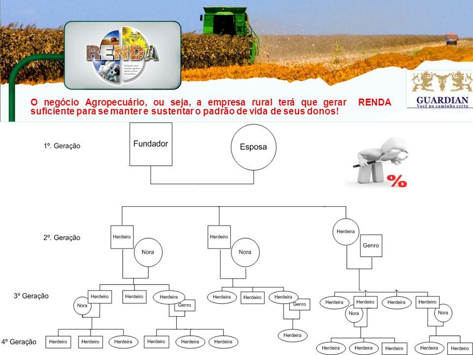 O negócio Agropecuário, ou seja, a empresa rural terá que gerar RENDA suficiente para se manter e sustentar o padrão de vida de seus donos!