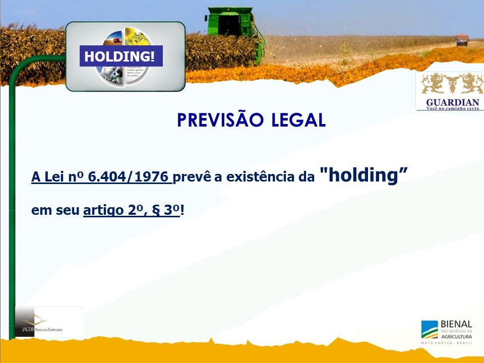PREVISÃO LEGAL A Lei nº 6.404/1976 prevê a existência da holding em seu artigo 2º, § 3º! HOLDING!