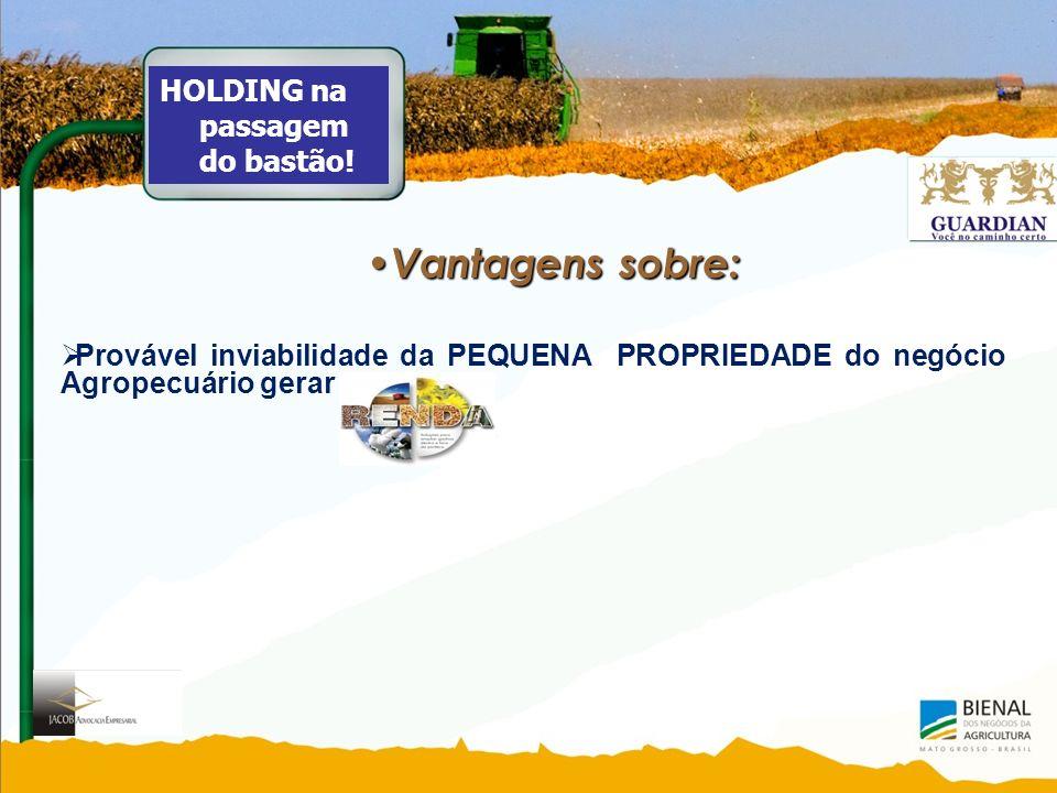Vantagens sobre: Vantagens sobre: Provável inviabilidade da PEQUENA PROPRIEDADE do negócio Agropecuário gerar HOLDING na passagem do bastão!