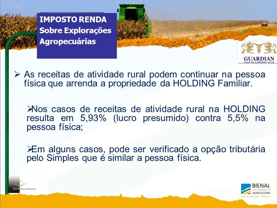 As receitas de atividade rural podem continuar na pessoa física que arrenda a propriedade da HOLDING Familiar.