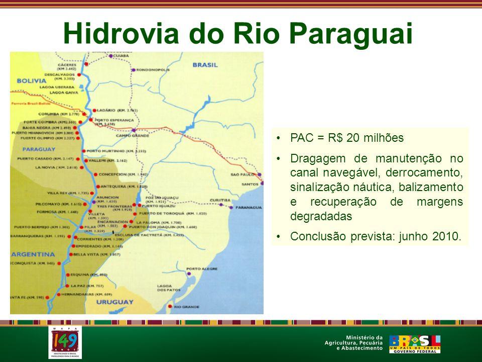 Hidrovia do Rio Paraguai PAC = R$ 20 milhões Dragagem de manutenção no canal navegável, derrocamento, sinalização náutica, balizamento e recuperação d