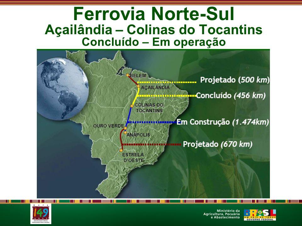 Ferrovia Norte-Sul Açailândia – Colinas do Tocantins Concluído – Em operação