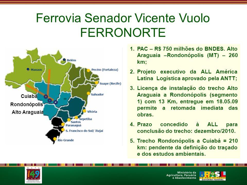 Ferrovia Senador Vicente Vuolo FERRONORTE Cuiabá Alto Araguaia Rondonópolis 1.PAC – R$ 750 milhões do BNDES. Alto Araguaia –Rondonópolis (MT) – 260 km