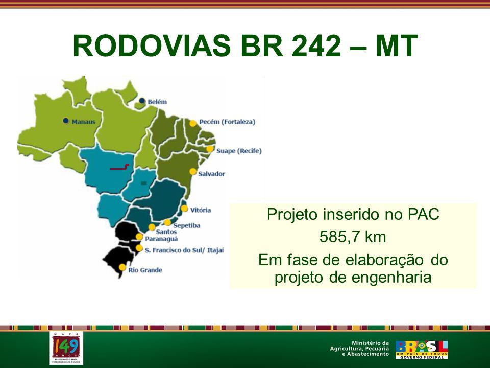 RODOVIAS BR 242 – MT Projeto inserido no PAC 585,7 km Em fase de elaboração do projeto de engenharia