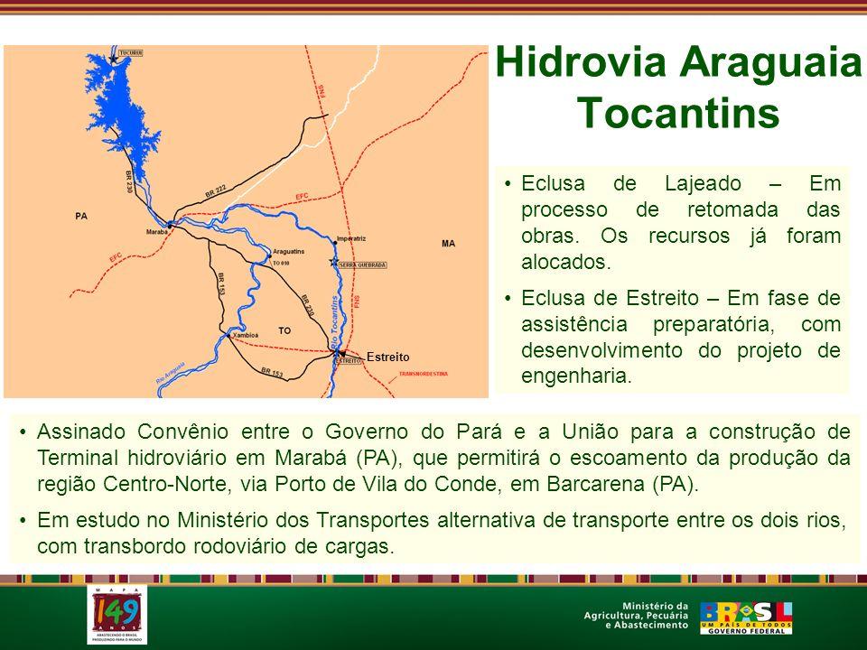 Hidrovia Araguaia Tocantins Eclusa de Lajeado – Em processo de retomada das obras. Os recursos já foram alocados. Eclusa de Estreito – Em fase de assi