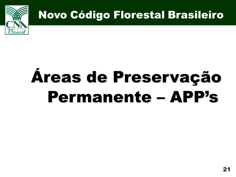 21 Áreas de Preservação Permanente – APPs Novo Código Florestal Brasileiro