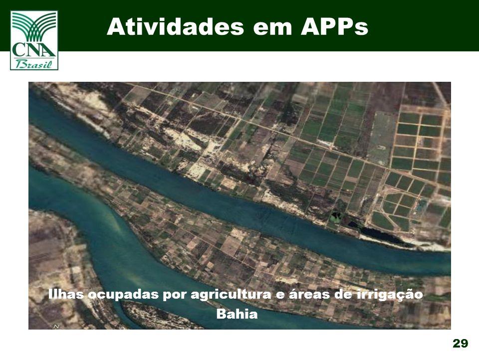 29 Atividades em APPs Ilhas ocupadas por agricultura e áreas de irrigação Bahia