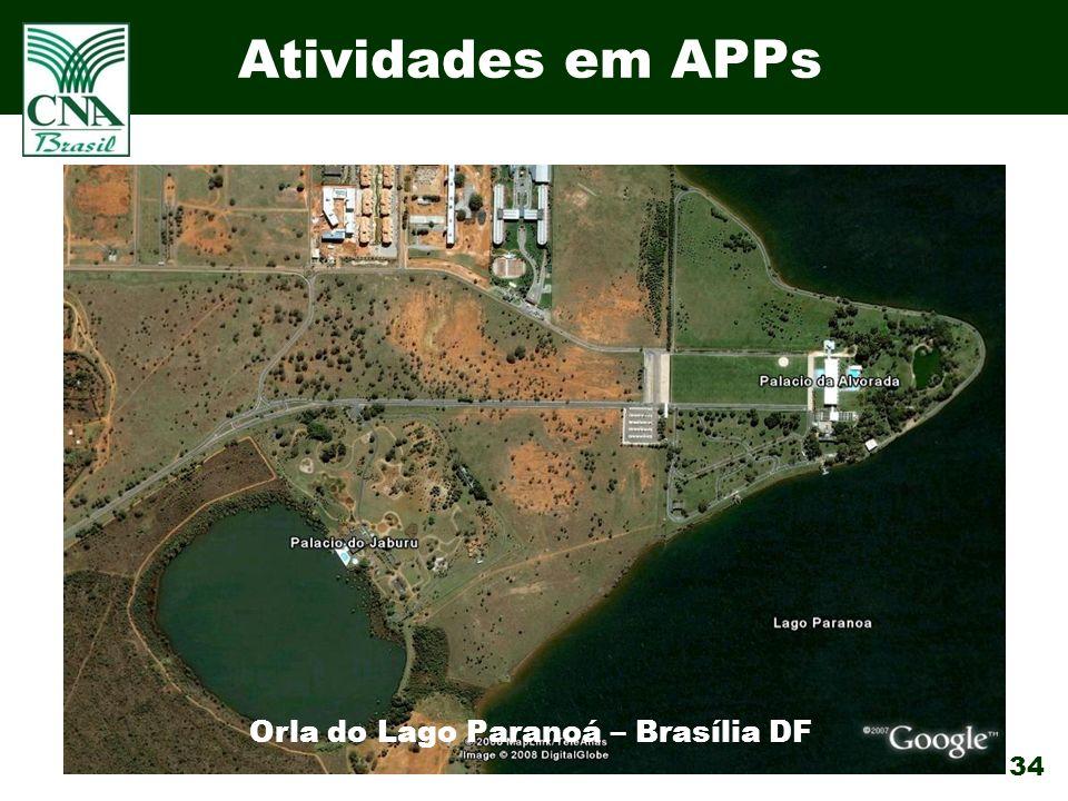 34 Atividades em APPs Orla do Lago Paranoá – Brasília DF
