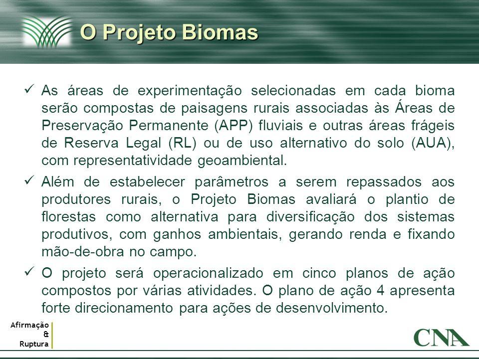 Afirmação & Ruptura O Projeto Biomas As áreas de experimentação selecionadas em cada bioma serão compostas de paisagens rurais associadas às Áreas de