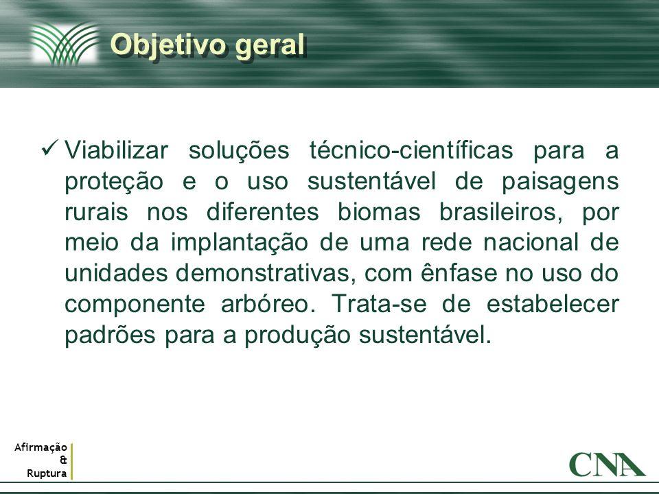 Afirmação & Ruptura Objetivo geral Viabilizar soluções técnico-científicas para a proteção e o uso sustentável de paisagens rurais nos diferentes biom