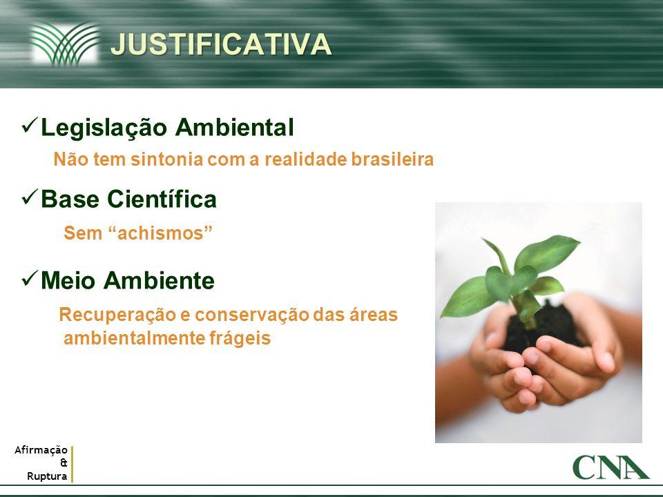 Afirmação & Ruptura JUSTIFICATIVAJUSTIFICATIVA 2 Legislação Ambiental Base Científica Meio Ambiente Não tem sintonia com a realidade brasileira Sem ac