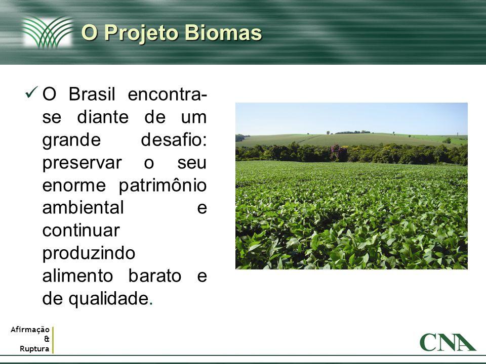 Afirmação & Ruptura O Projeto Biomas O Brasil encontra- se diante de um grande desafio: preservar o seu enorme patrimônio ambiental e continuar produz