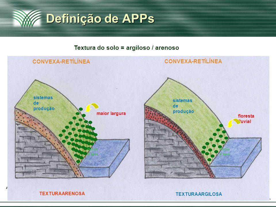 Afirmação & Ruptura Definição de APPs Textura do solo = argiloso / arenoso CONVEXA-RETÍLÍNEA TEXTURA ARGILOSA TEXTURA ARENOSA lâmina d´água lâmina d´á