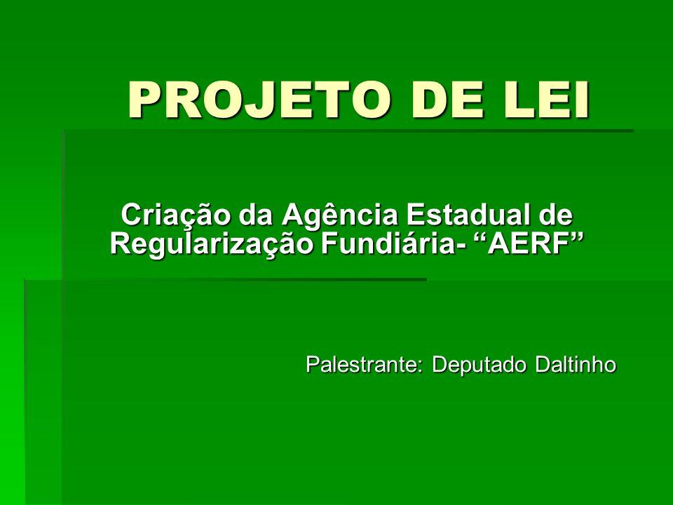 PROJETO DE LEI Criação da Agência Estadual de Regularização Fundiária- AERF Palestrante: Deputado Daltinho