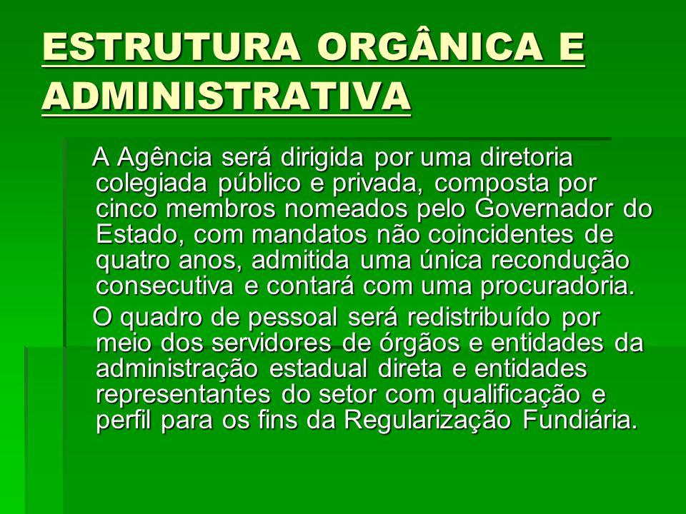 ESTRUTURA ORGÂNICA E ADMINISTRATIVA A Agência será dirigida por uma diretoria colegiada público e privada, composta por cinco membros nomeados pelo Go