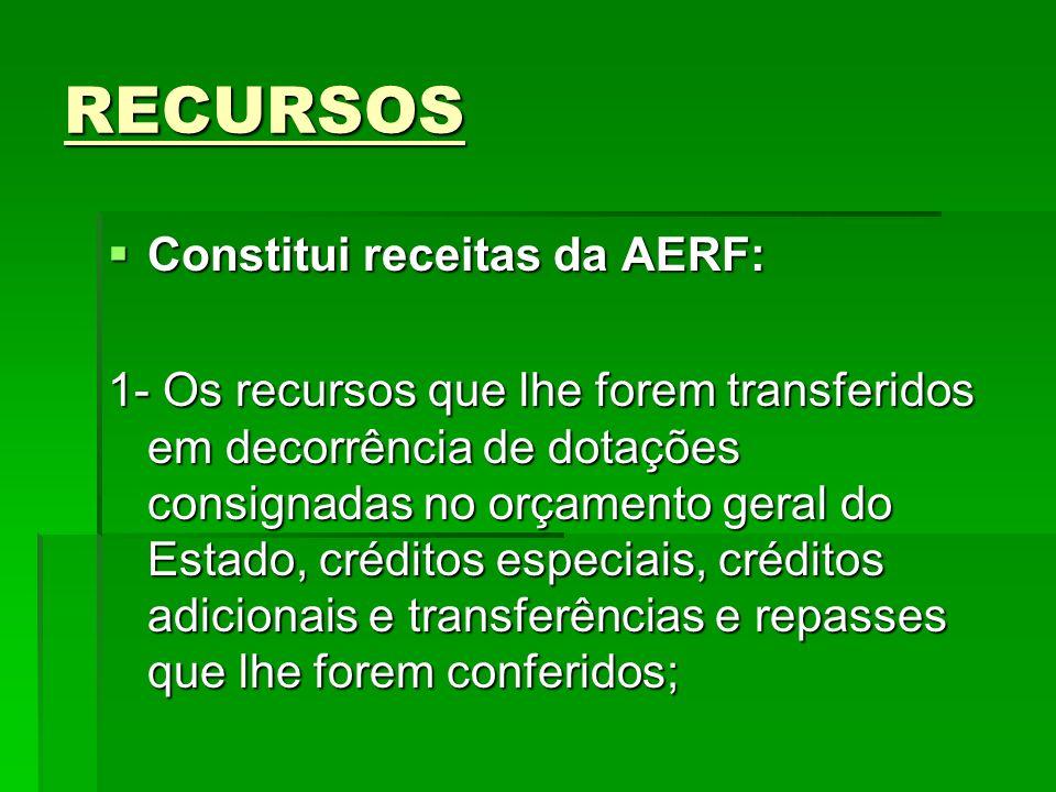 RECURSOS Constitui receitas da AERF: Constitui receitas da AERF: 1- Os recursos que lhe forem transferidos em decorrência de dotações consignadas no o